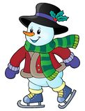 Skating snowman theme image 1. Eps10 vector illustration Stock Images