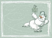 Skating snowman Royalty Free Stock Photo