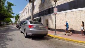 Skating through South Beach Miami FL stock video footage