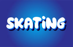 Skating text 3d blue white concept vector design logo icon Royalty Free Stock Photography
