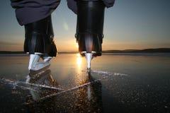 Skating to sunset. Skate on ice on sunset background Royalty Free Stock Photography