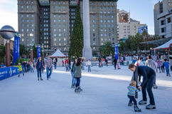 Skating at Union Square in San Francisco Stock Photos