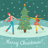 Skating. Vector template of Christmas postcard, there is a happy skating couple, Christmas tree and snowflakes Stock Photos