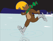 Skating Yule Bear Royalty Free Stock Images