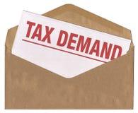 skatt för meddelande för begärankuvertbokstav Arkivfoton