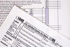 skatt USA för 1040 datalista Arkivbilder