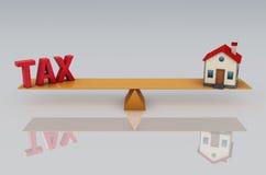 Skattbegrepp med modellen för hus 3d Arkivbilder