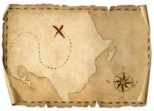 Skatten piratkopierar isolerade illustrationen 3d för ` den gamla översikten stock illustrationer