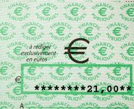 Skatter i den Frankrike checken som utfärdas av den riktningsGenerale desen Fina arkivfoton