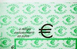 Skatter i den Frankrike checken som utfärdas av den riktningsGenerale desen Fina royaltyfri bild