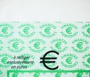 Skatter i den Frankrike checken som utfärdas av den riktningsGenerale desen Fina royaltyfri fotografi