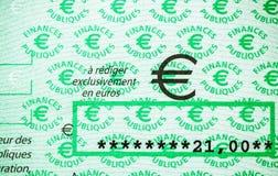 Skatter i den Frankrike checken som utfärdas av den riktningsGenerale desen Fina arkivbilder