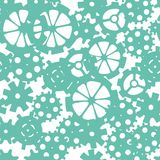 Skattered sprocket-wheels, gear silhouettes seamless pattern. Vector Royalty Free Stock Photo