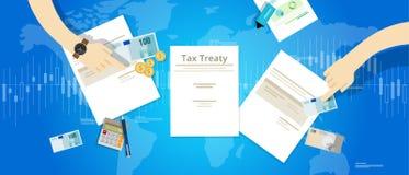 Skattfördrag mellan avtal för internationell överenskommelse för land royaltyfri illustrationer