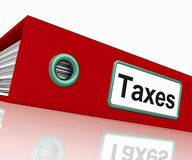 Skattmappen innehåller skattrapporter och förlagor royaltyfri foto
