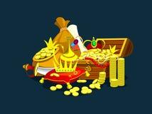 Skattskattbröstkorg och juvlar vektor royaltyfri illustrationer