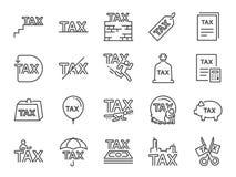 Skattsymbolsuppsättning Inklusive symbolerna som avgifter, personlig skatt, arbetsuppgifter, obligatorisk finansiell laddning, re stock illustrationer