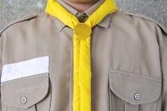 Skaut, mundury, Żółty szalik, brąz koszula, kostiumy będący ubranym uczniami zdjęcie royalty free