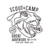 Skautowski obozowy emblemat w cienkim kreskowym stylu Zdjęcie Royalty Free