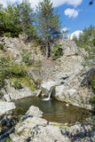 Skały z siklawą w Rhodope górze Fotografia Stock