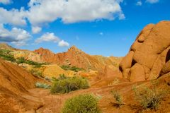Skazka童话峡谷在Kirgyzstan 库存照片