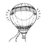 Συρμένη χέρι διανυσματική απεικόνιση - μπαλόνι ζεστού αέρα στον ουρανό Ske Στοκ Εικόνα