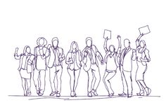 Skecth dopingu biznesmenów drużyna Nad Białym tłem, grupa ręki Rysujący Szczęśliwi ludzie biznesu Świętuje sukces royalty ilustracja