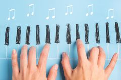 Skecth of piano keyboard. And hands. dreaming about music concept Stock Photography