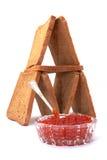 sked för hus för brödkaviarmaträtt Arkivfoton