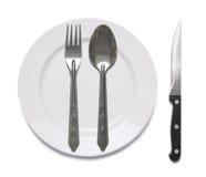sked för maträttgaffelkniv Arkivbild