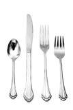 sked för silver för matställegaffelkniv Royaltyfri Bild