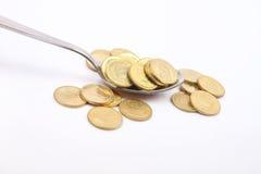 sked för silver för myntguld indisk Royaltyfria Bilder
