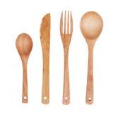 Sked, gaffel och kniv som göras av trä Royaltyfria Bilder