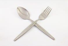 Sked och gaffel royaltyfria foton