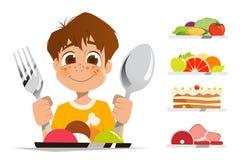 Sked och gaffel för innehav för pojkeungebarn som äter målmaträtten stock illustrationer
