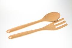 Sked och gaffel med vit bakgrund Royaltyfria Foton