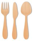 Skeda trä, knivträ och den wood vektorn för gaffel på vit Royaltyfria Bilder