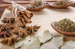 Skedar och kryddor på skärbräda Fotografering för Bildbyråer
