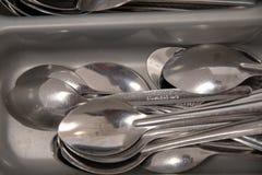 Skedar små skedar, rostfritt stålskedar royaltyfria bilder