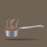 Skeden för kaffebönor royaltyfria bilder