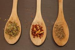 Skeden och spicies kritiserar på maträtten Arkivfoto