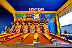 Skeeball at Coney Island. Empty skeeball games at the boardwalk April 2, 2010 in Coney Island, New York, USA. The first ever skee ball tournament was held nearby Royalty Free Stock Photography