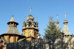 Skeet All Saints. Wooden church in the area Svyatogorsk. Ukraine, Donetsk region Royalty Free Stock Photos