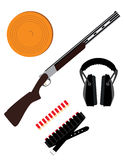 Skeet rifle, headphones for shooting, buckshot and clay disk Stock Image