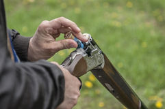 Skeet Shooting. In Denmark with grass background Stock Image