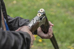 Skeet Shooting. In Denmark with grass background Stock Photo