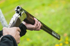 Skeet Shooting. In Denmark with grass background Stock Images