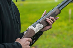 Skeet Shooting. In Denmark with grass background Stock Photos