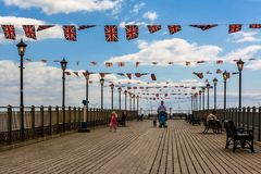 Skegness Pier. In Lincolnshire with Union Jack bunting Royalty Free Stock Photography