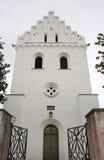 Skegrie-Kirchturm im Süd-Schweden Stockbild